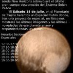 Cartel con la programación de Especial Plutón
